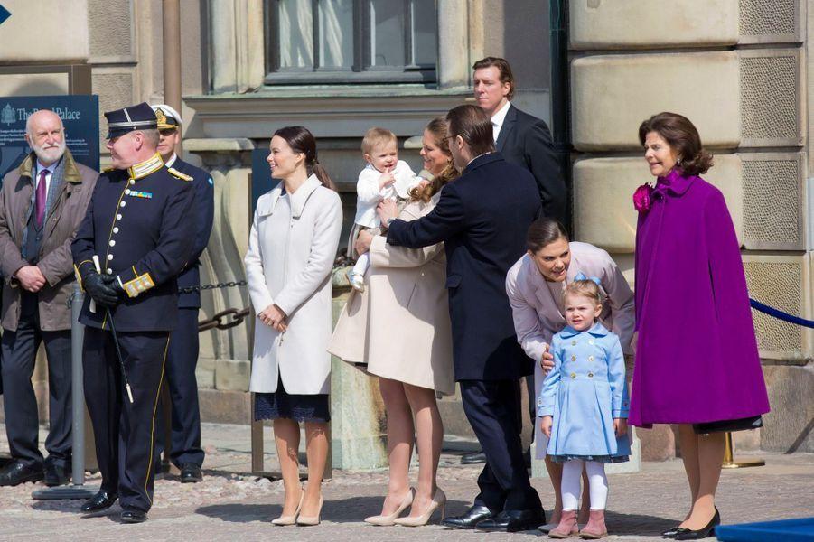 La famille royale de Suède à Stockholm, le 30 avril 2015