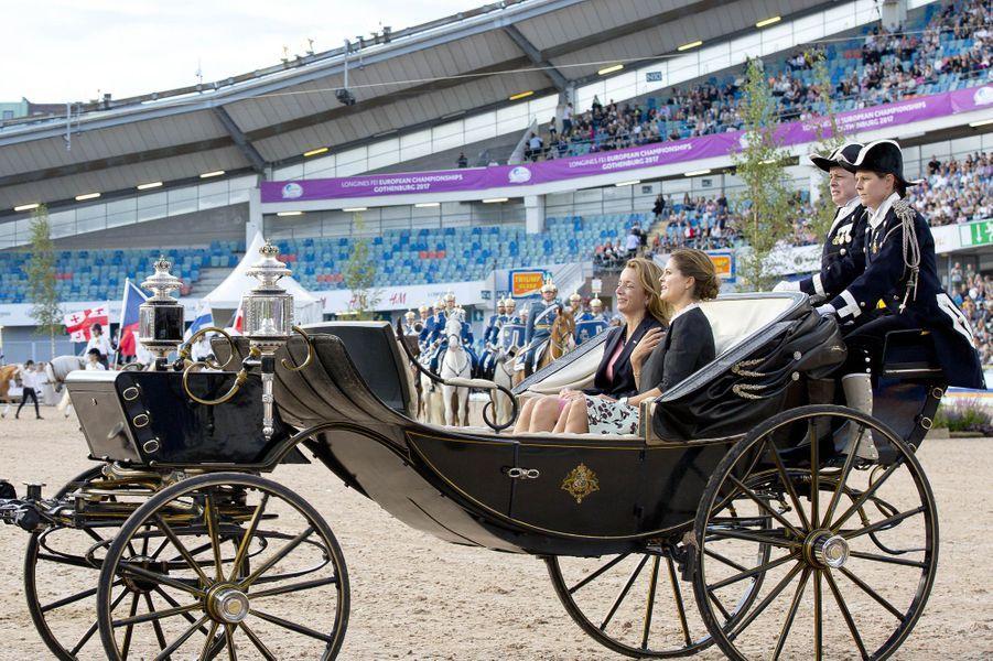 La princesse Madeleine de Suède dans le stade Ullevi de Göteborg, le 21 août 2017