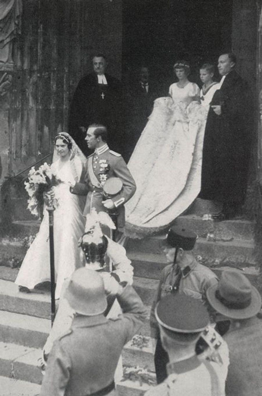 Le mariage du prince Gustaf Adolf de Suède et de la princesse Sibylle de Saxe-Cobourg et Gotha, le 19 octobre 1932