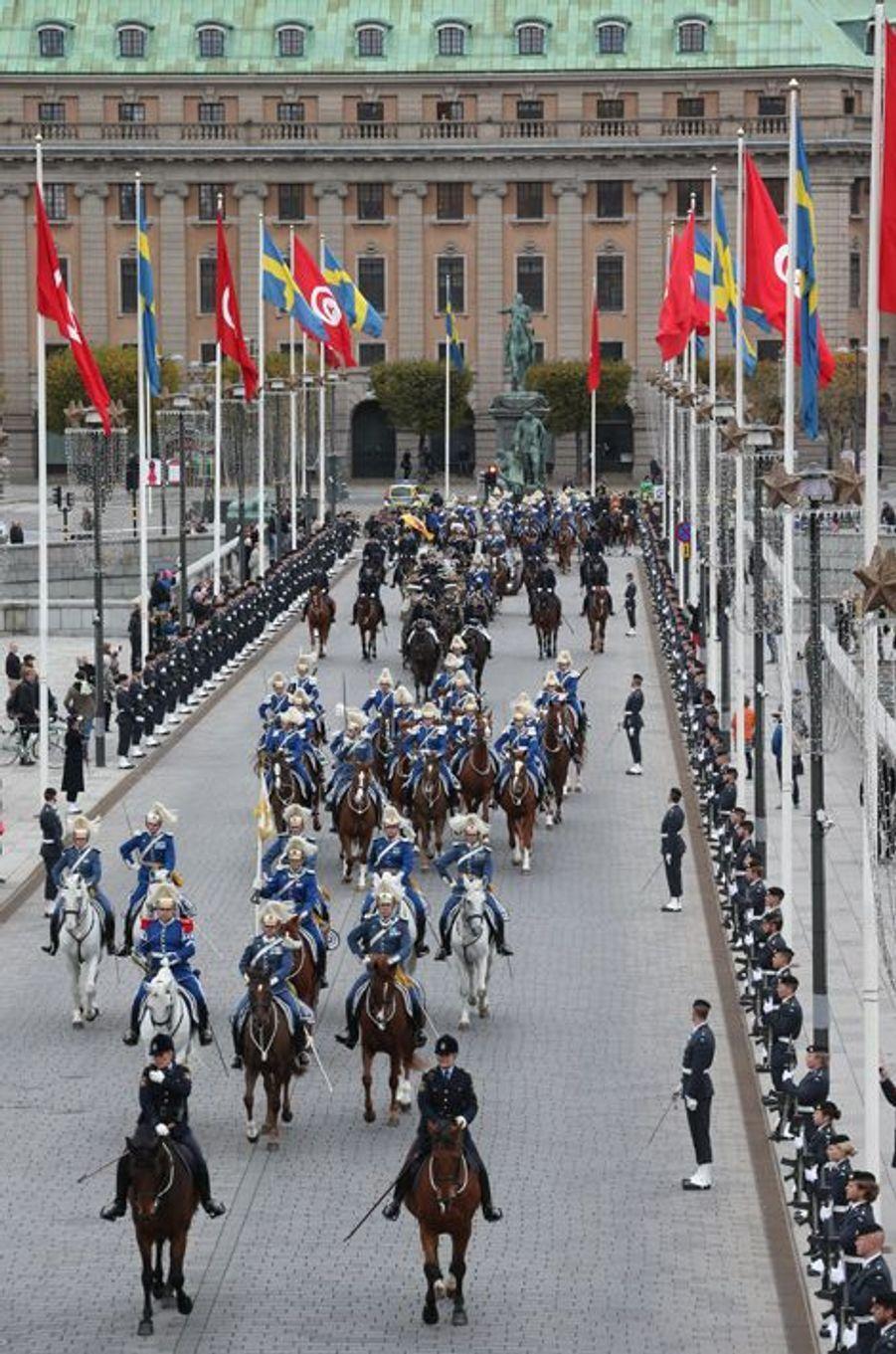 Accueil par le roi et la reine de Suède du président tunisien Béji Caïd Essebsi à Stockholm,le 4 novembre 2015