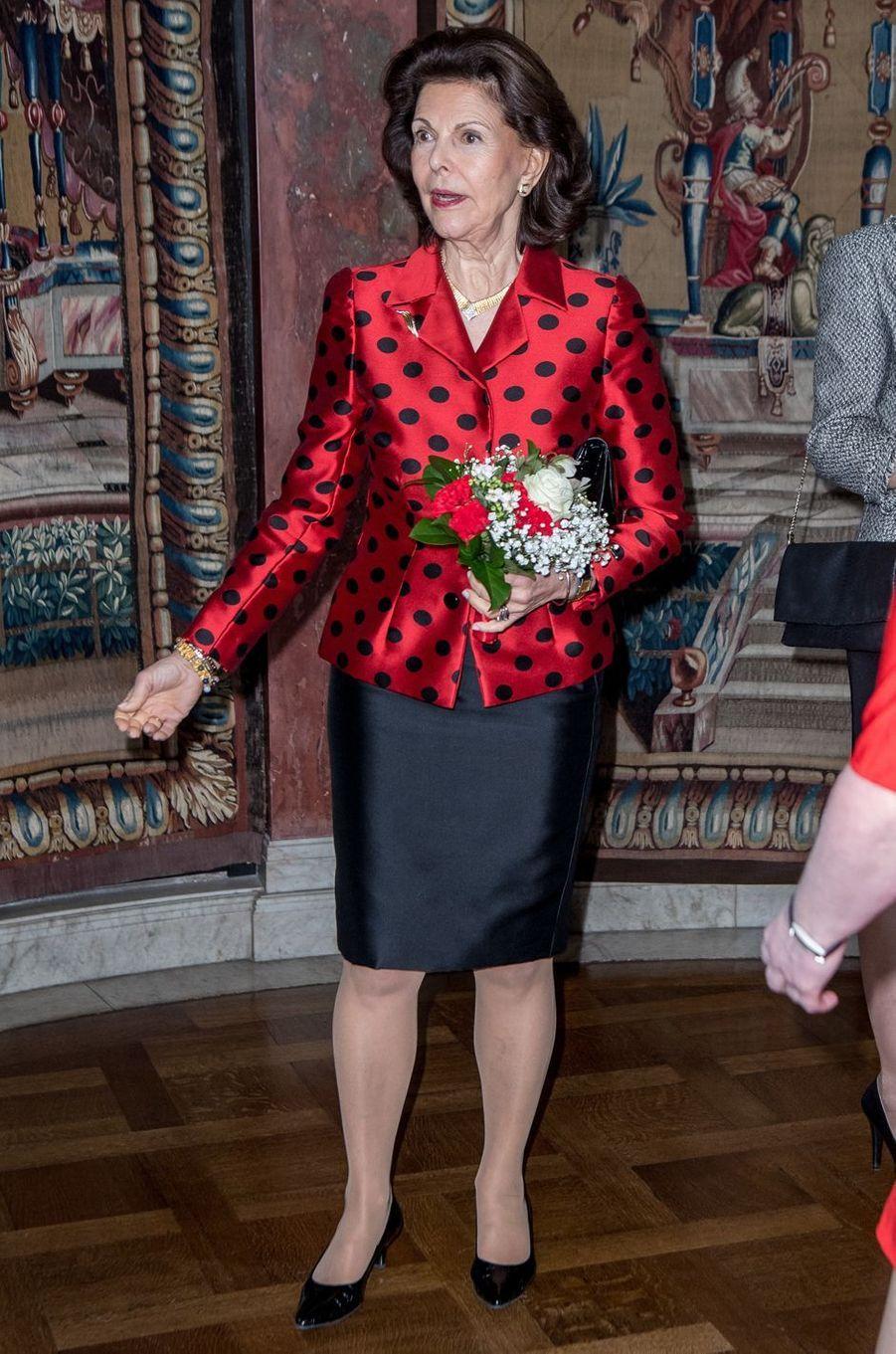 La reine Silvia de Suède à Stockholm, le 21 février 2017