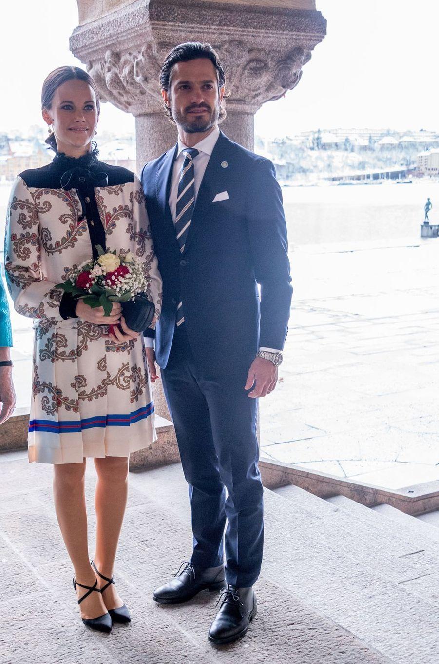 La princesse Sofia et le prince Carl Philip de Suède à Stockholm, le 21 février 2017