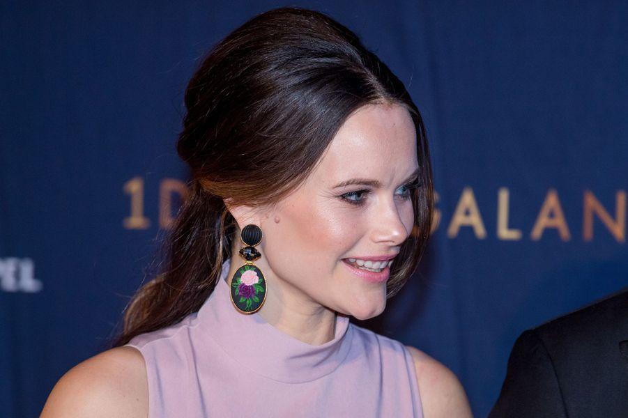 Les boucles d'oreille de la princesse Sofia de Suède à Stockholm, le 15 janvier 2018