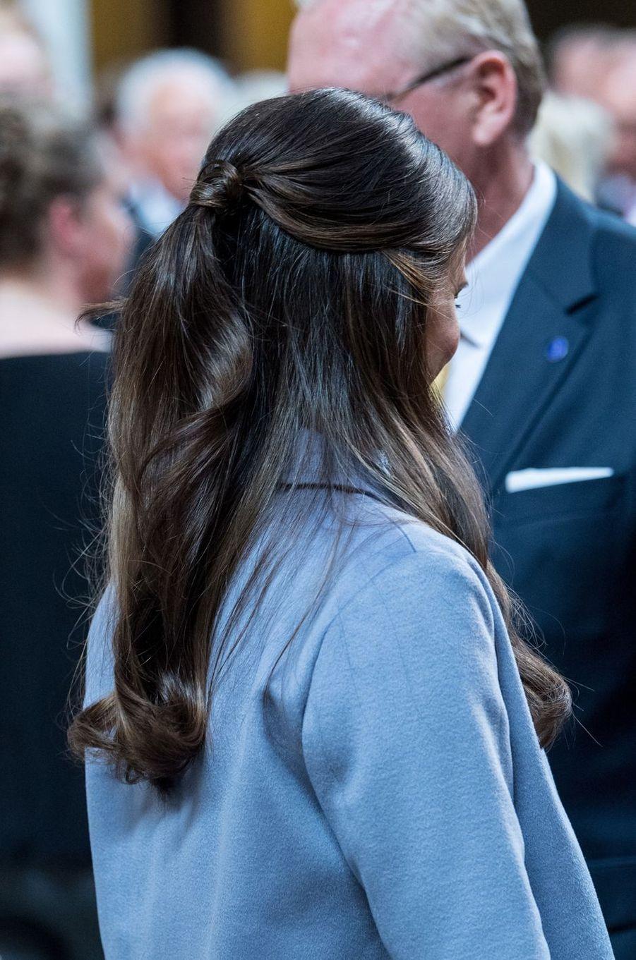 La coiffure de la princesse Sofia de Suède, née Hellqvist, à Stockholm, le 9 juin 2017