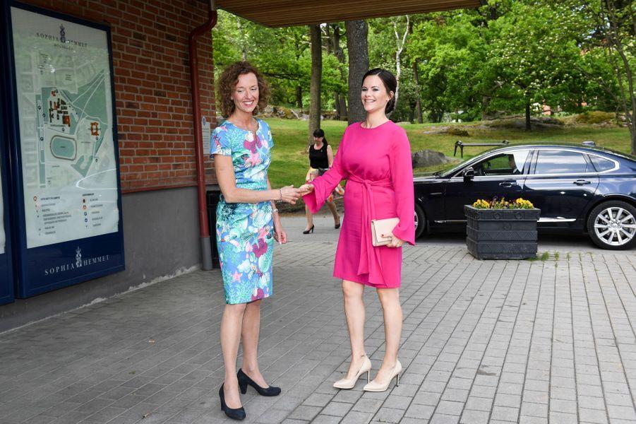 La princesse Sofia de Suède arrive à la Sophiahemmet à Stockholm, le 31 mai 2017