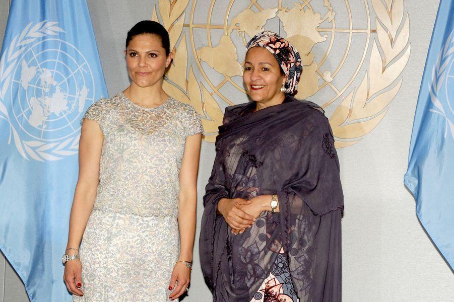 La princesse Victoria de Suède avec la Nigériane Amina J. Mohammed, vice-secrétaire générale des Nations unies, à New York le 8 juin 2017