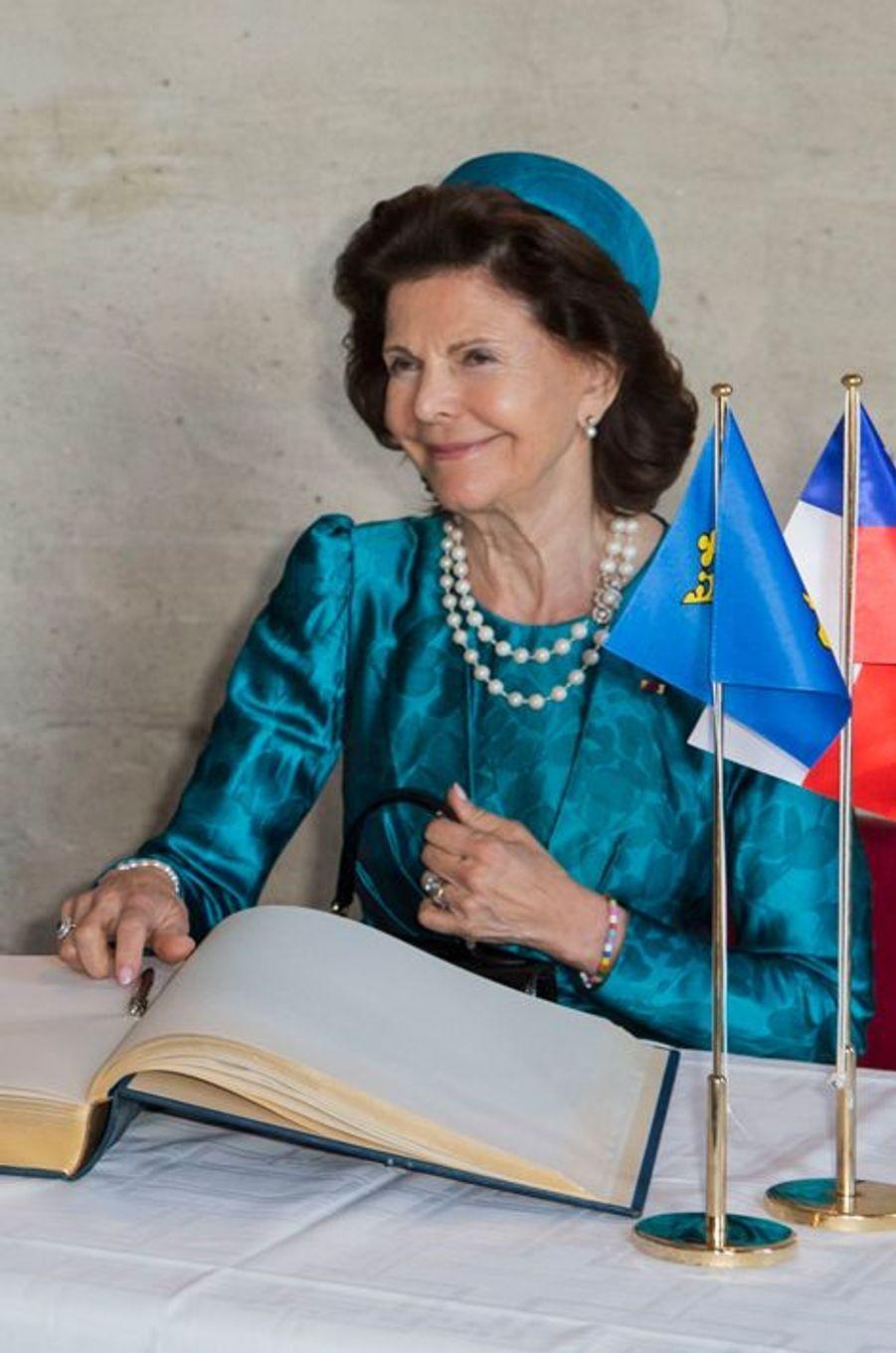 La reine Silvia de Suède à Stockholm, le 11 mai 2016