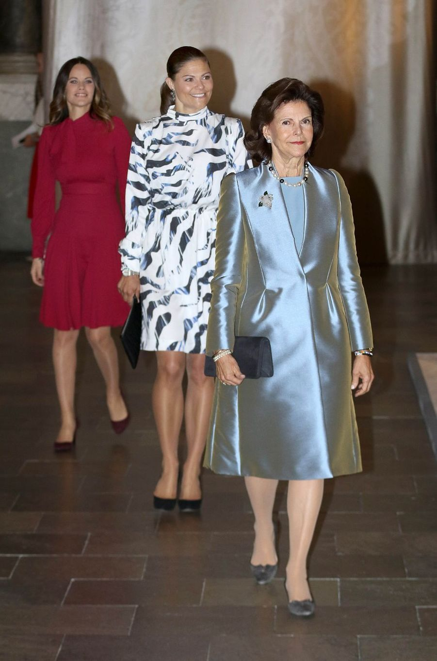 La reine Silvia de Suède, avec les princesses Victoria et Sofia à Stockholm, le 17 octobre 2016