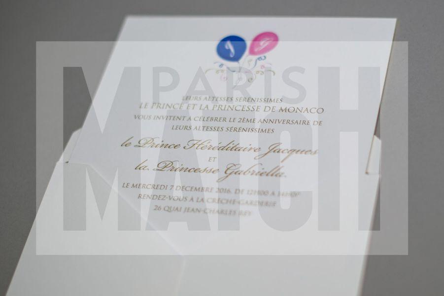 L'invitation de l'anniversaire de Jacques et Gabriella de Monaco