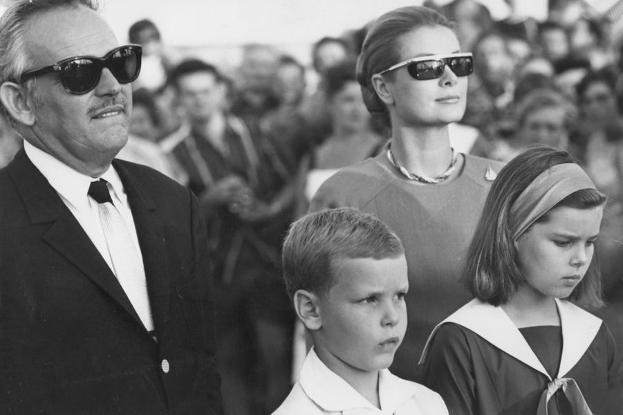 Grace, Rainier, Albert et Caroline en 1966