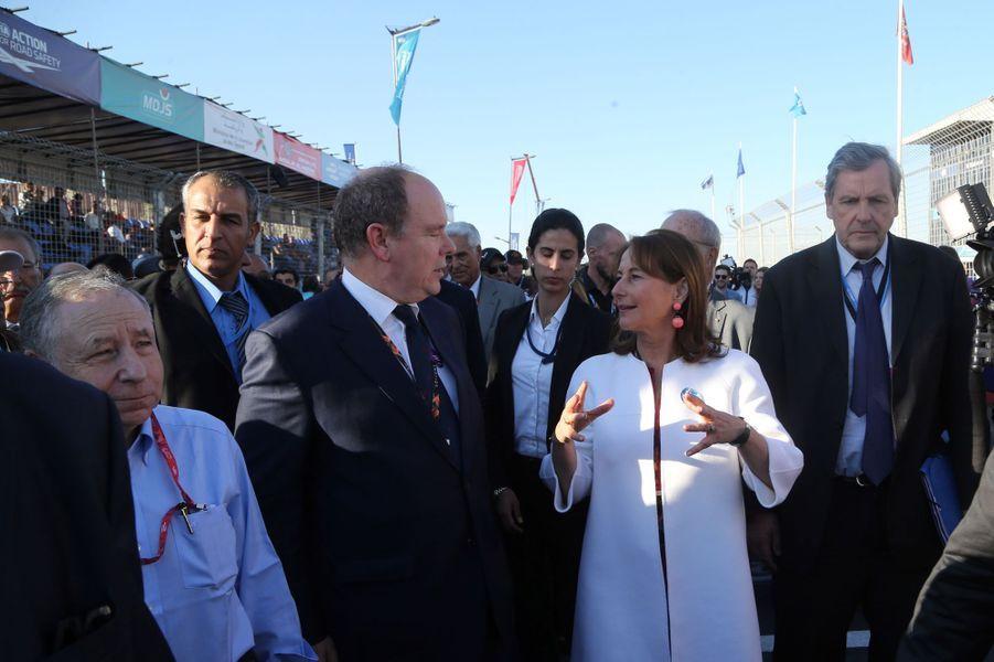 Le prince Albert II de Monaco avec Ségolène Royal et Jean Todt à Marrakech, le 12 novembre 2016