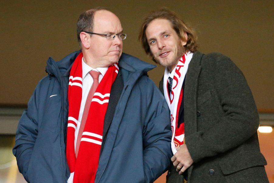 Le prince Albert II de Monaco et Andrea Casiraghi au stade Louis II à Monaco, le 4 février 2015