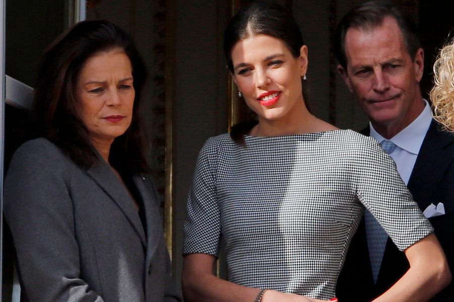 La princesse Stéphanie de Monaco, Charlotte Casiraghi et Christopher Levine à Monaco, le 7 janvier 2015