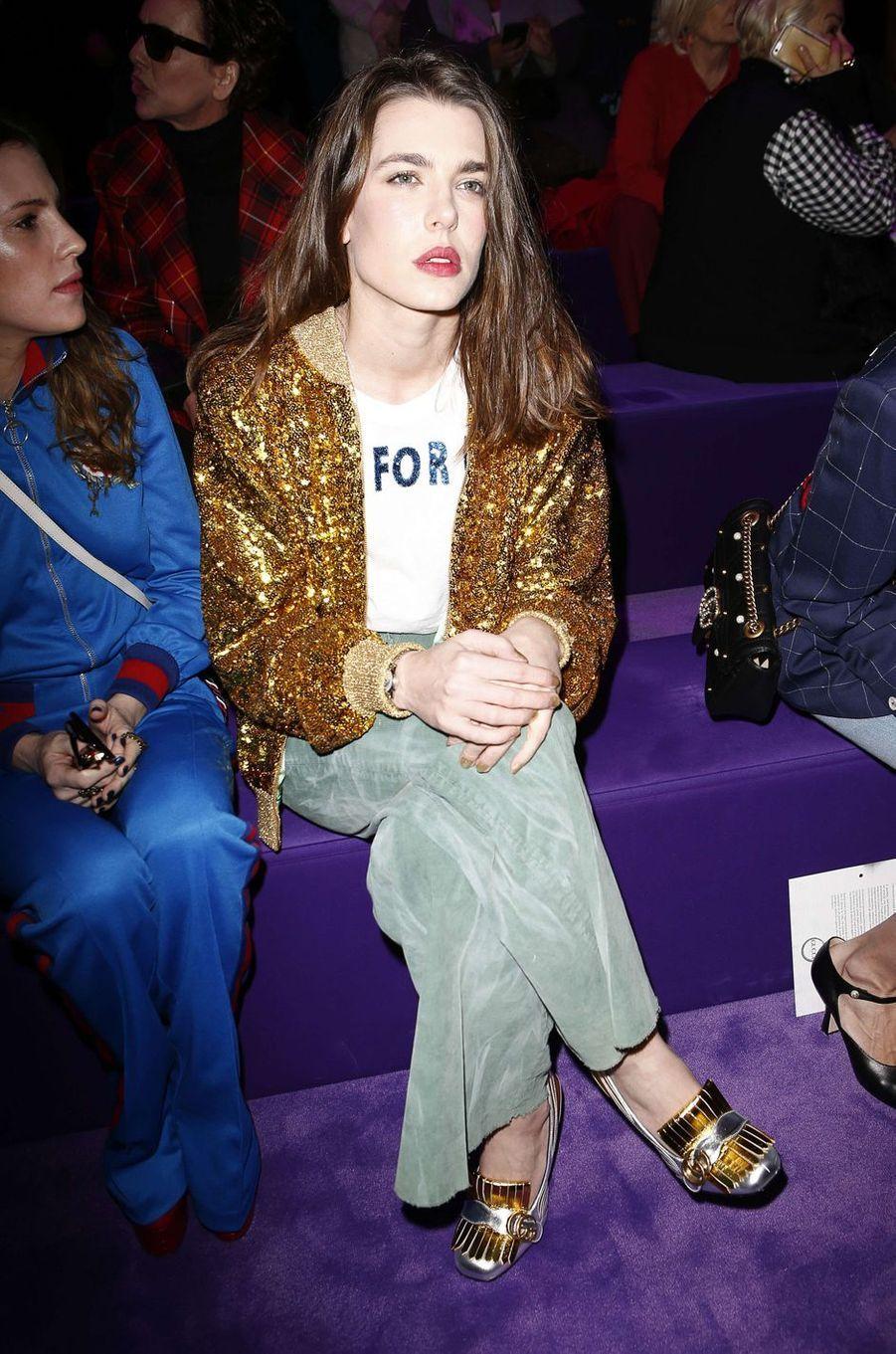 Charlotte Casiraghi au premier rang du défilé Gucci à la Fashion Week à Milan, le 22 février 2017
