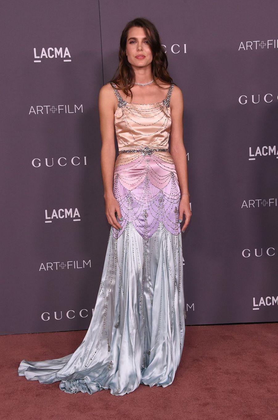 Charlotte Casiraghi dans une robe Gucci à Los Angeles, le 4 novembre 2017