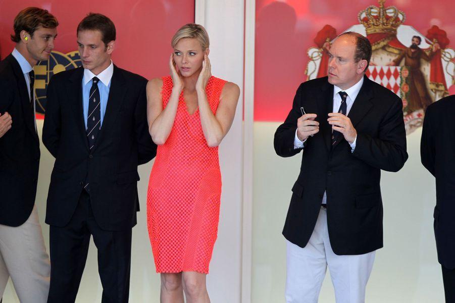 Après la course, Charlène ravissante sur le podium