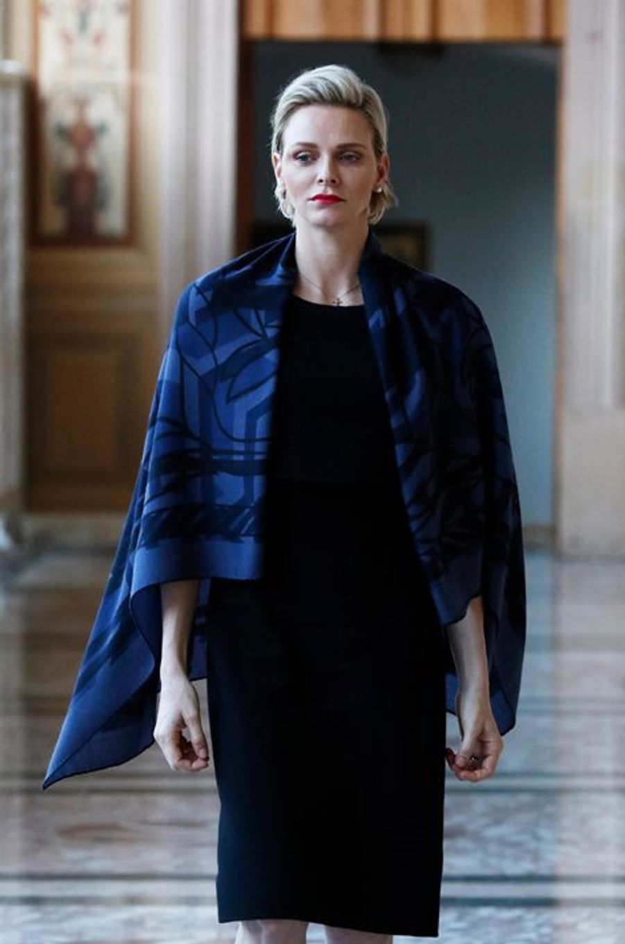 La princesse Charlène lors de la bénédiction de la Fête-Dieu dans la cour du Palais princier de Monaco, le 4 juin 2015