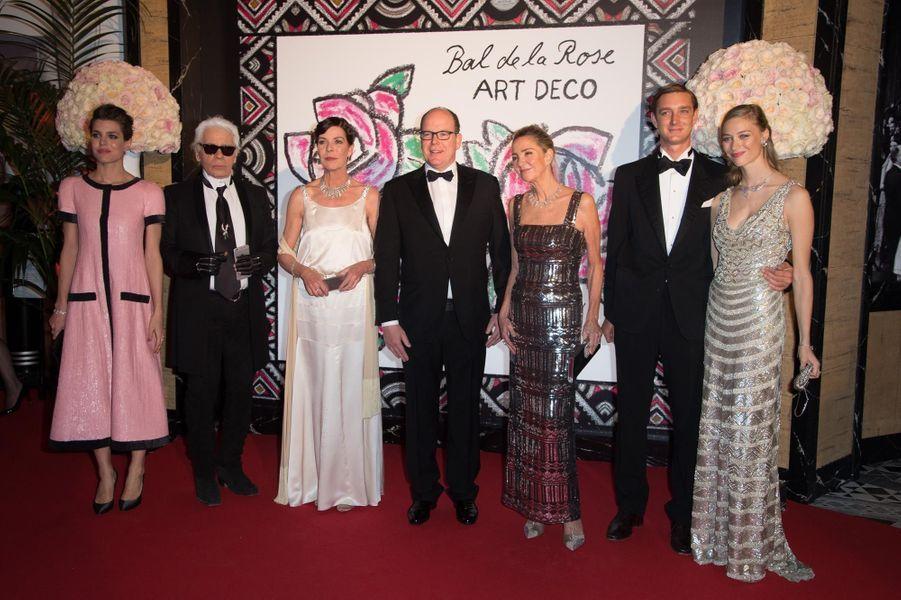 Charlotte Casiraghi, Karl Lagerfeld, la princesse Caroline de Havore, le Prince Albert II, Paola Marzotto, Pierre Casiraghi, et la Comtesse Beatrice...