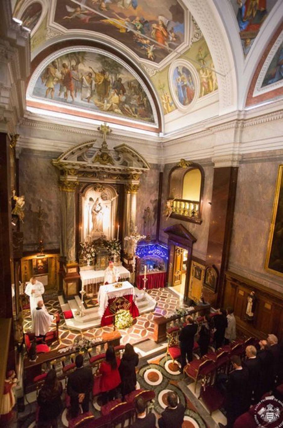Messe d'action de grâce pour la naissance de la princesse Gabriella et du prince Jacques à Monaco, le 12 décembre 2014