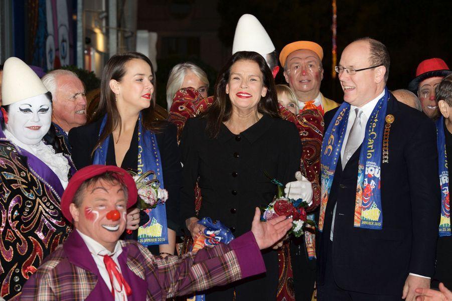 Pauline Ducruet, Stéphanie et Albert de Monaco au 39ème Festival du cirque de Monte-Carlo, le 20 janvier 2015