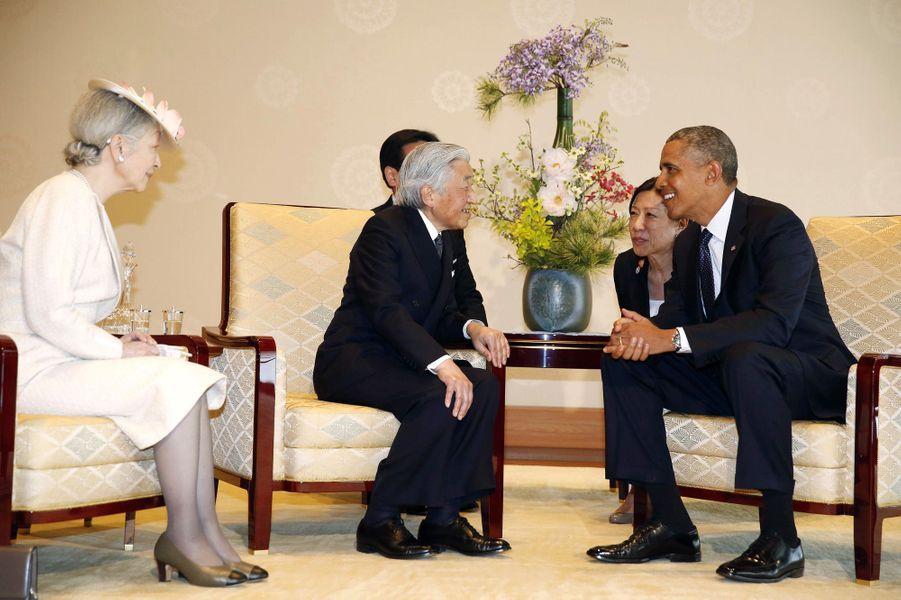 Akihito et Michiko reçoivent Obama