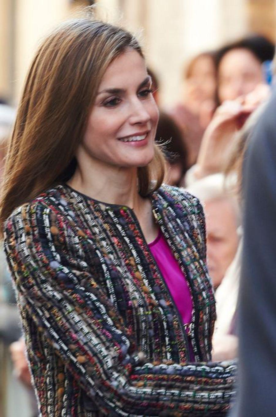 La reine Letizia d'Espagne à Saragosse, le 10 mars 2015