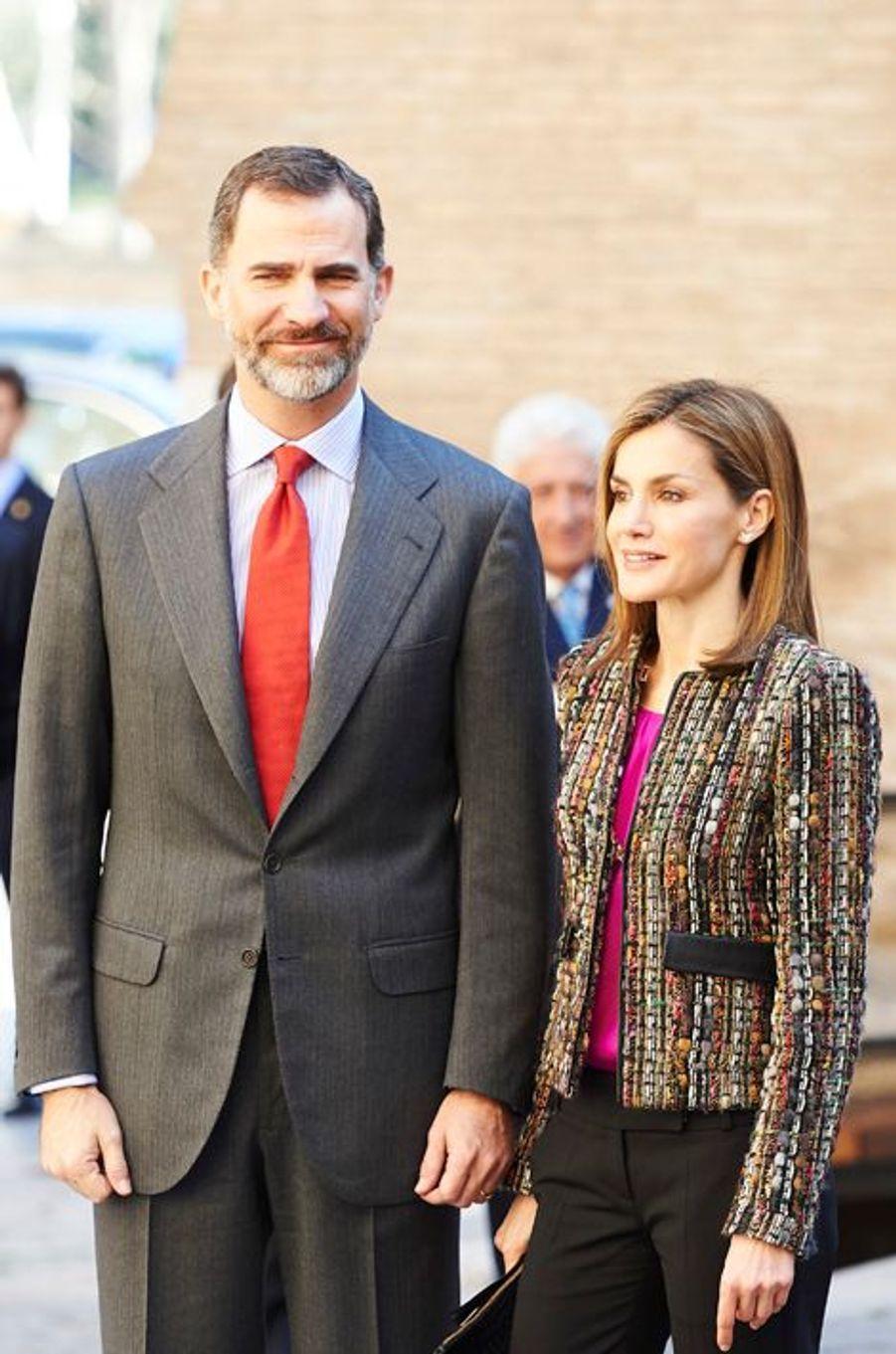 Le roi Felipe VI et la reine Letizia d'Espagne à Saragosse, le 10 mars 2015