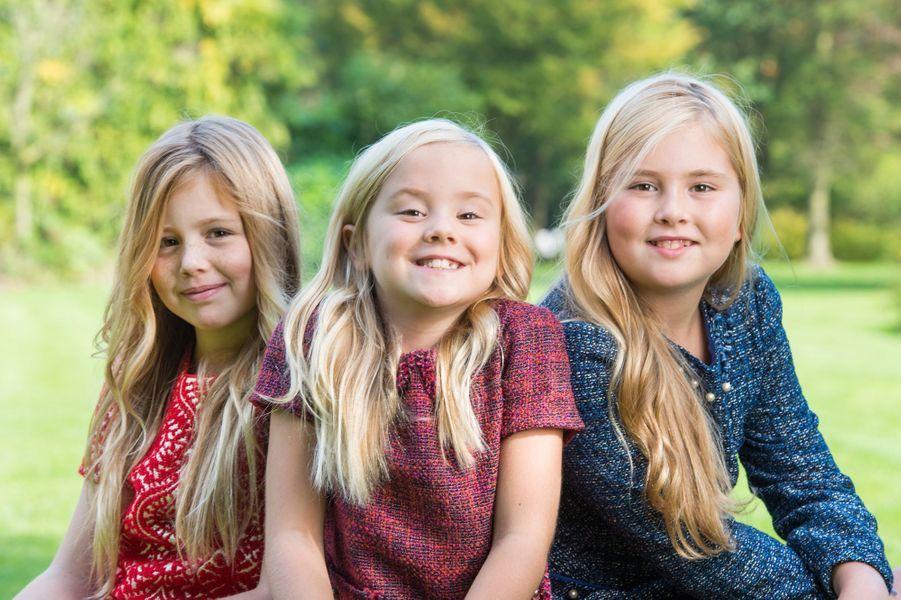 Les princesses Alexia, Ariane et Catharina-Amalia des Pays-Bas à Wassenaar, à l'automne 2014
