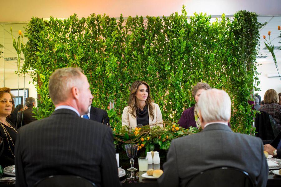 La reine Rania de Jordanie lors du dîner des 20 ans de la Jordan River Foundation à Amman, le 25 février 2015