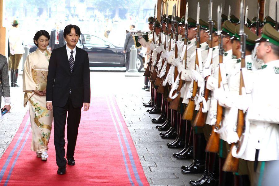 La princesse Kiko, en kimono, et le prince Akishino du Japon à Santiago, le 27 septembre 2017