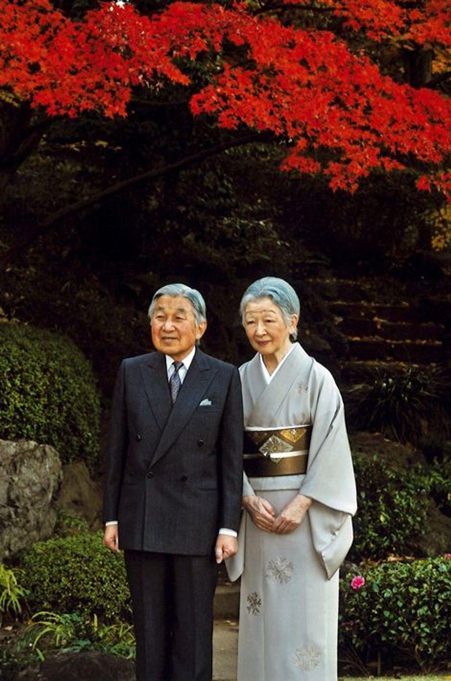 L'empereur Akihito et l'impératrice Michiko du Japon au Palais impérial à Tokyo, le 9 décembre 2015