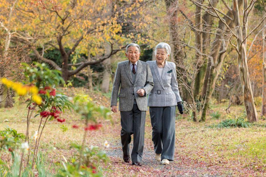 L'empereur Akihito du Japon et l'impératrice Michiko à Tokyo, le 6 décembre 2017. Photo révélée pour les 84 ans d'Akihito.