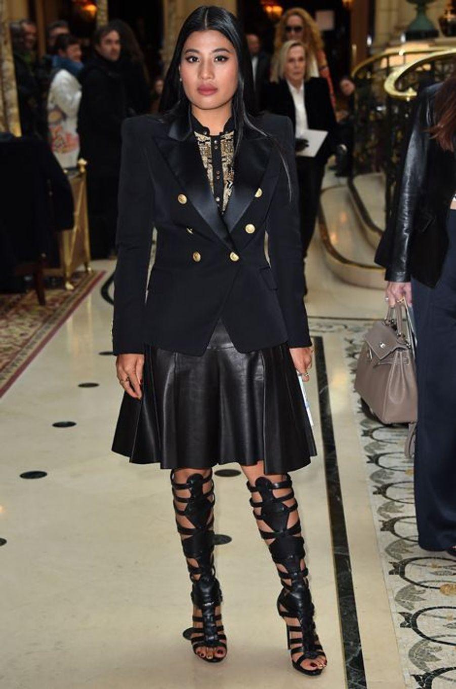 La princesse Sirivannavari Nariratana au défilé Balmain à Paris, le 5 mars 2015