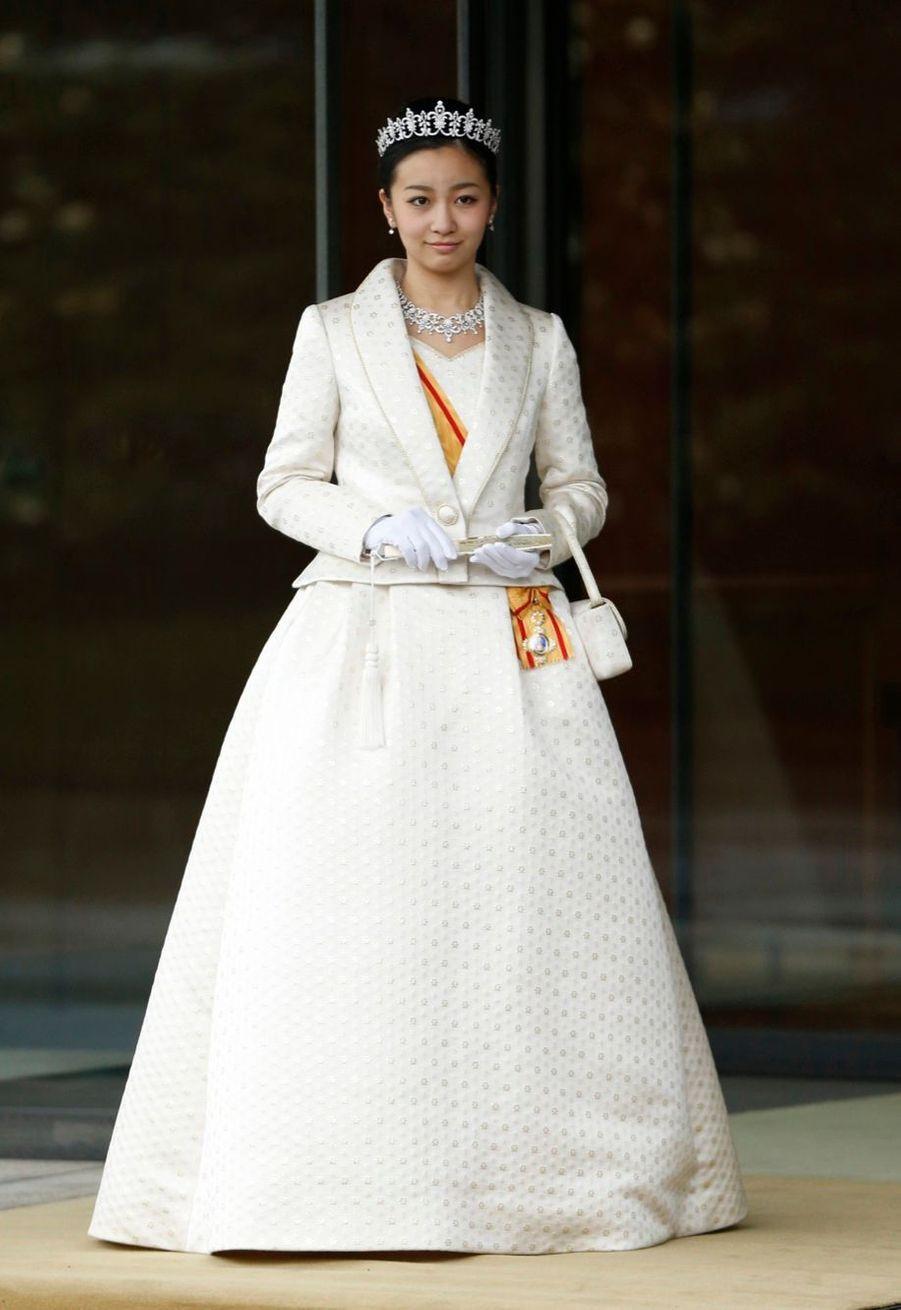 La princesse Kako en visite chez ses grands-parents, l'empereur Akihito et son épouse l'impératrice Michiko.