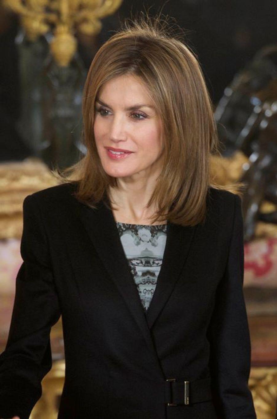 La reine Letizia d'Espagne au palais royal à Madrid, le 19 décembre 2014