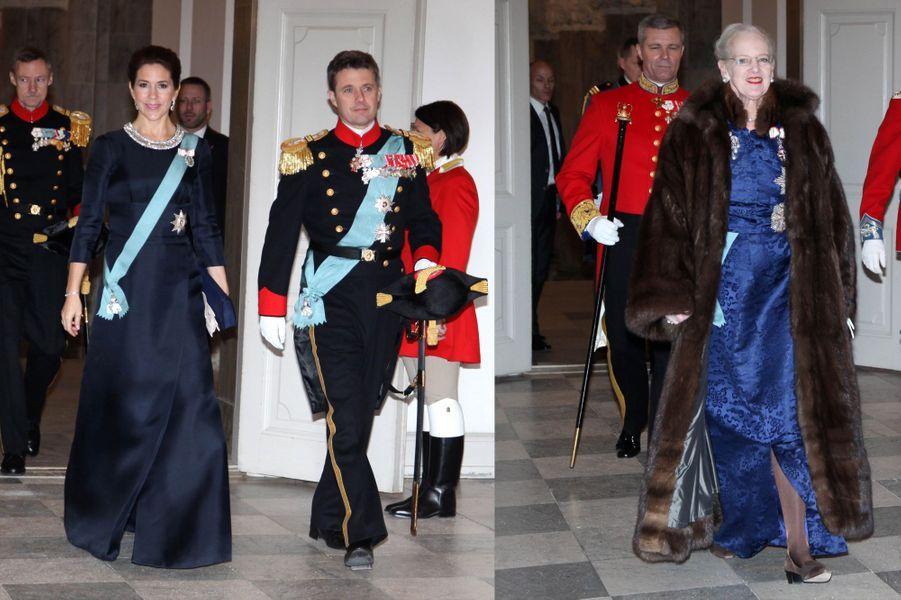 La princesse Mary, le prince Frederik et la reine Margrethe à la réception de Nouvel an au château de Christiansborg à Copenhague, le 6 janvier...