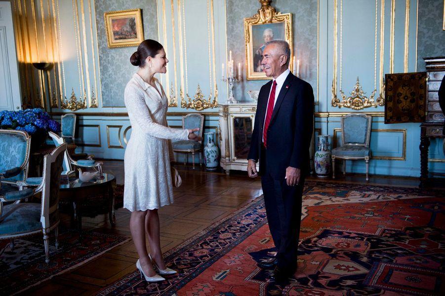 La princesse Victoria de Suède reçoit Anote Tong, président de la République des Kiribati, à Stockholm, le 9 mars 2015