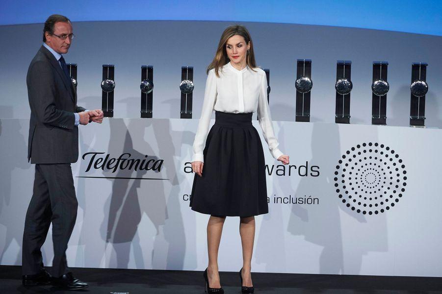 La reine Letizia à la cérémonie des «Telefónica Ability Awards» à Madrid, le 12 janvier 2015