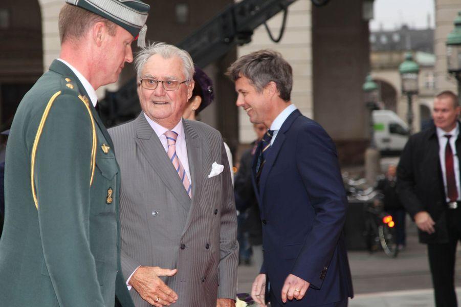 Le prince Henrik de Danemark au Parlement à Copenhague, le 7 octobre 2014