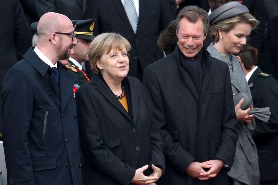 Angela Merkel, le Grand-Duc Henri de Luxembourg et la reine Mathilde de Belgique à Nieuwpoort, le 28 octobre 2014