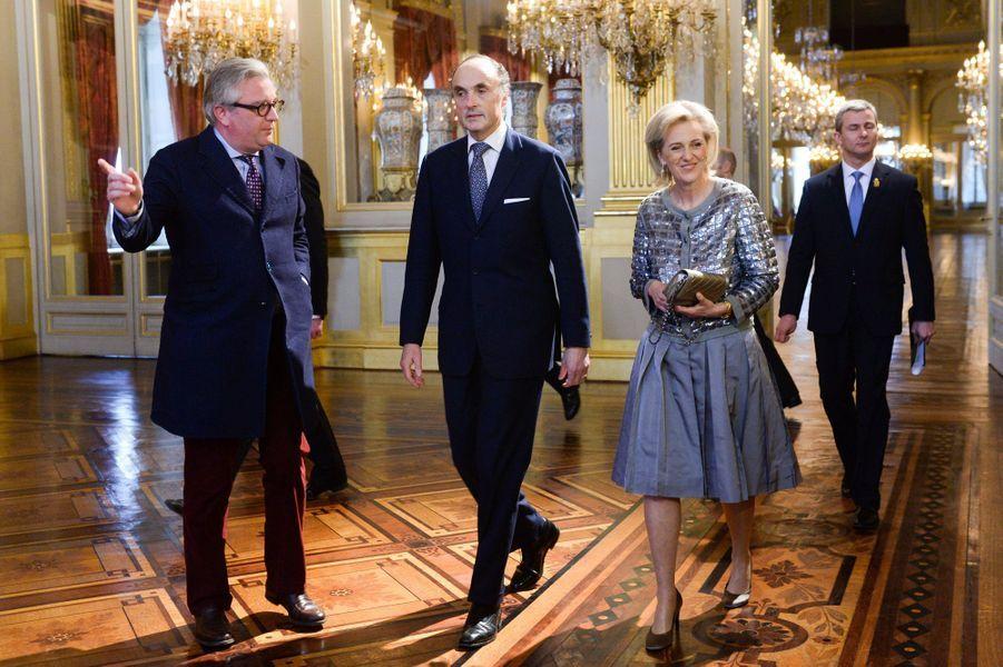 Le prince Laurent et la princesse Astrid avec son mari l'archiduc Lorentz au Palais royal à Bruxelles, le 29 janvier 2015