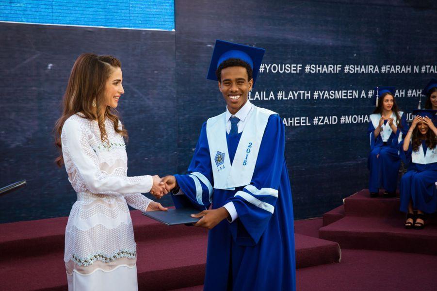 La reine Rania de Jordanie à l'International academy d'Amman, le 3 juin 2015