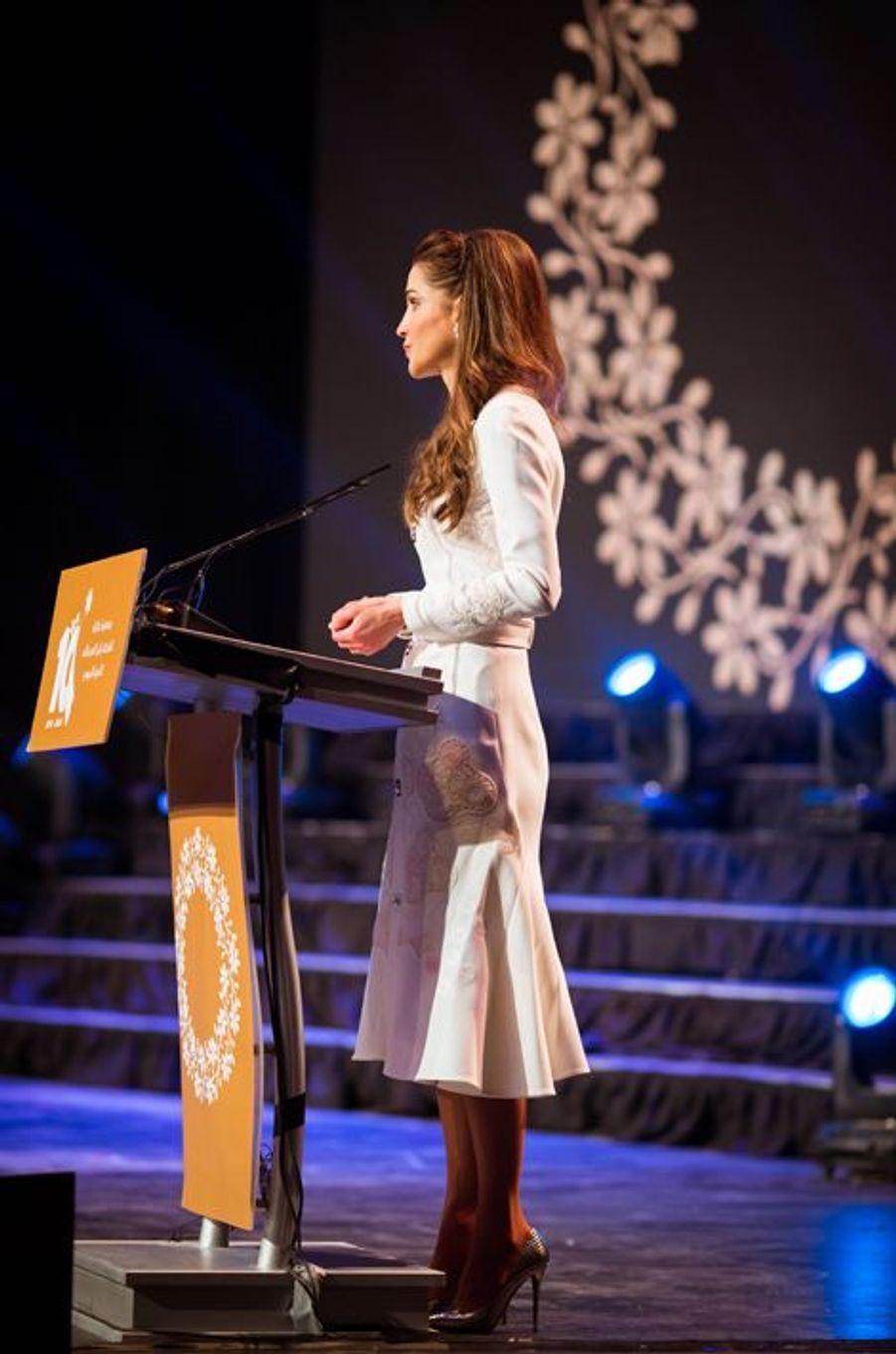 La reine Rania de Jordanie à Amman, le 14 décembre 2015