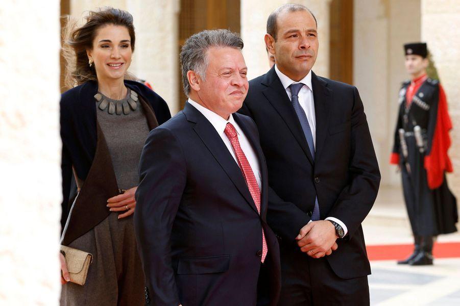 Le roi Abdallah II et la reine Rania à Amman, le 11 février 2015