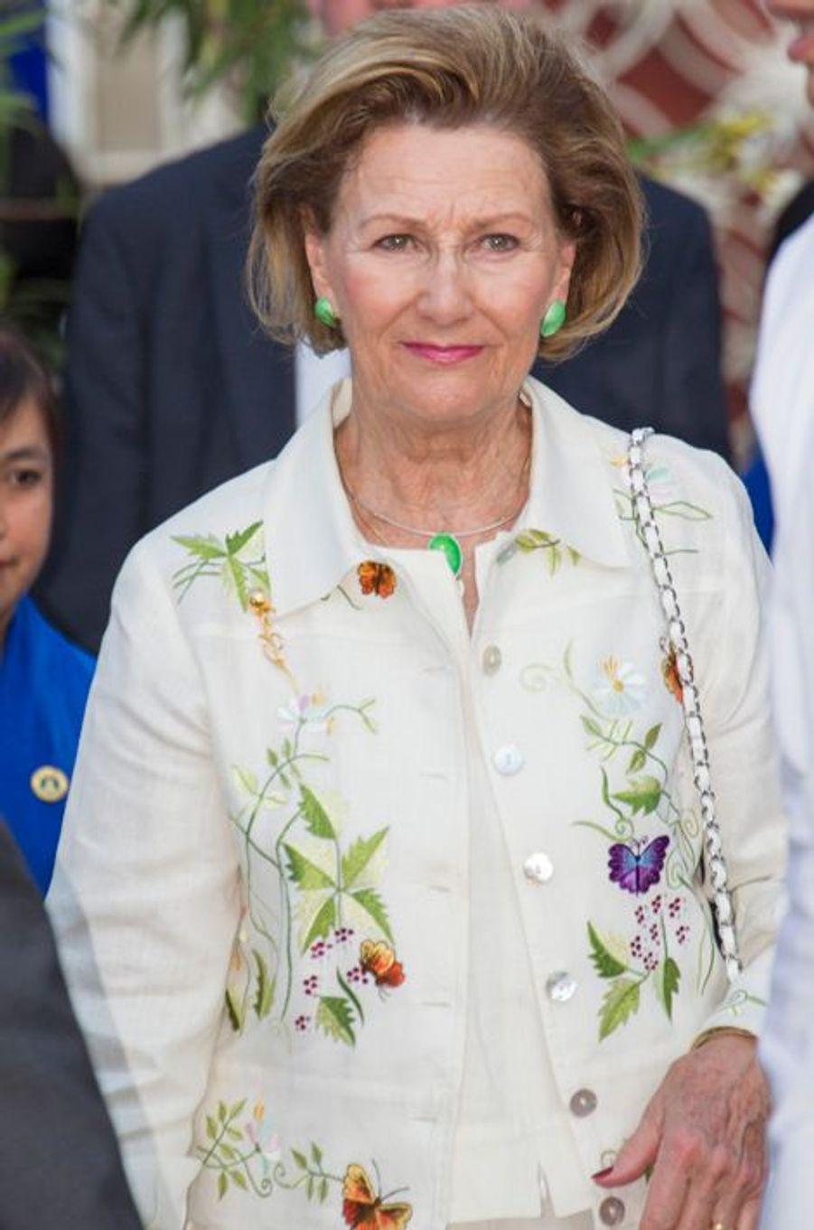 La reine Sonja de Norvège à Mandalay, le 3 décembre 2014