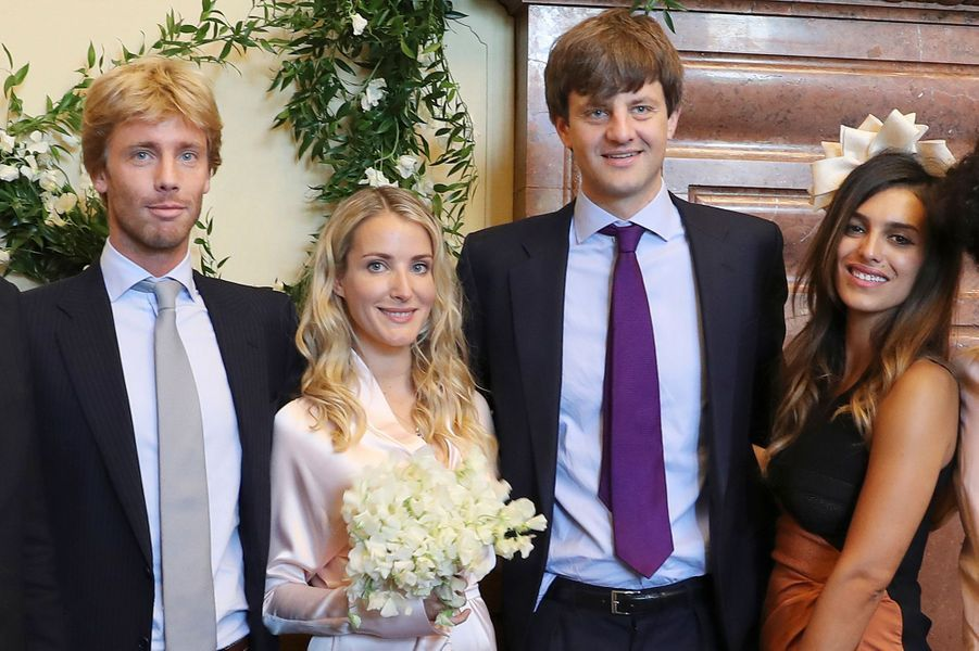 Le prince Ernst August de Hanovre junior et Ekaterina Malysheva à Hanovre avec le prince Christian de Hanovre et Dina Amer, le 6 juillet 2017