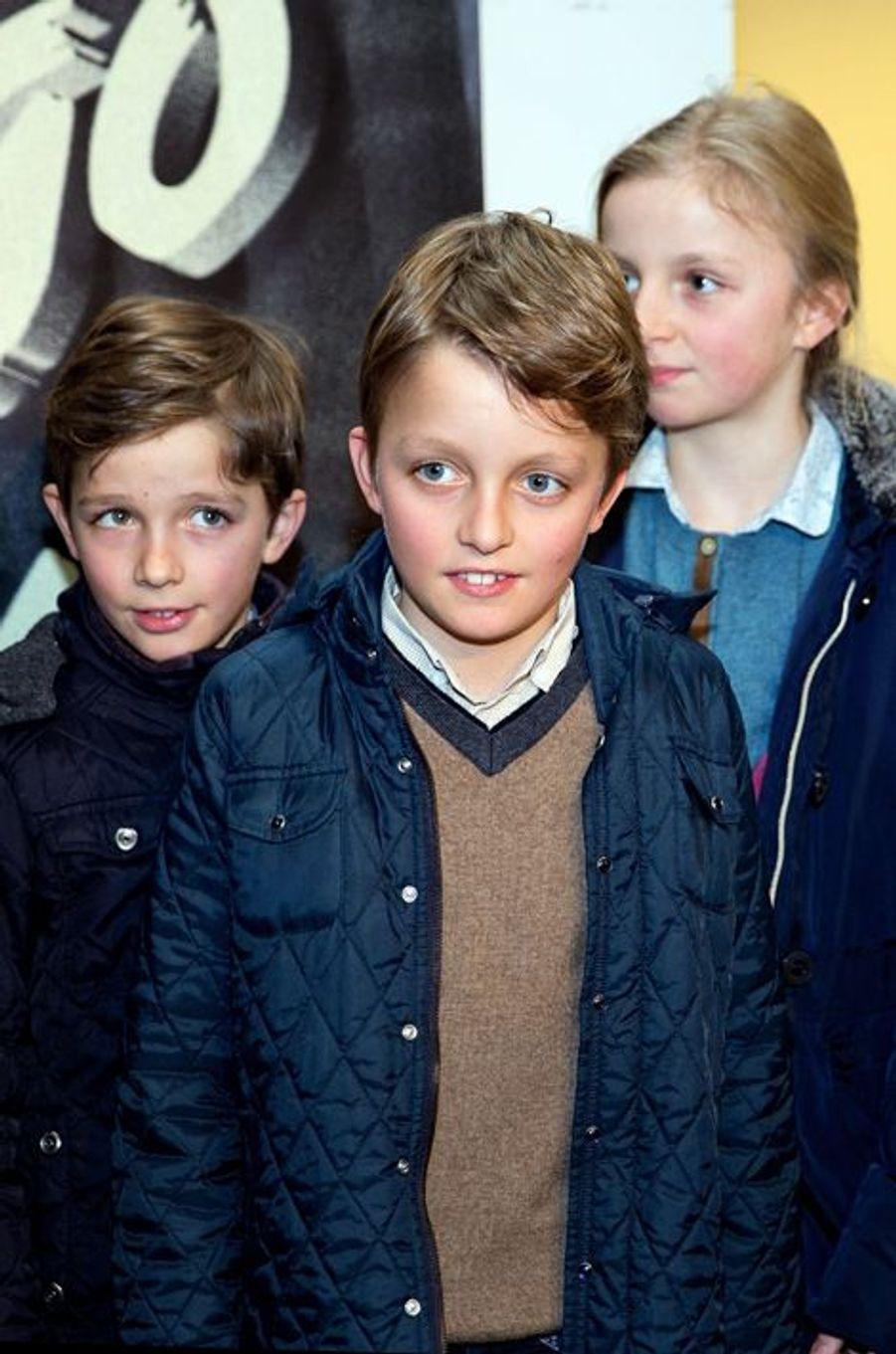 Louise, Nicolas et Aymeric de Belgique à Anvers, le 14 février 2015