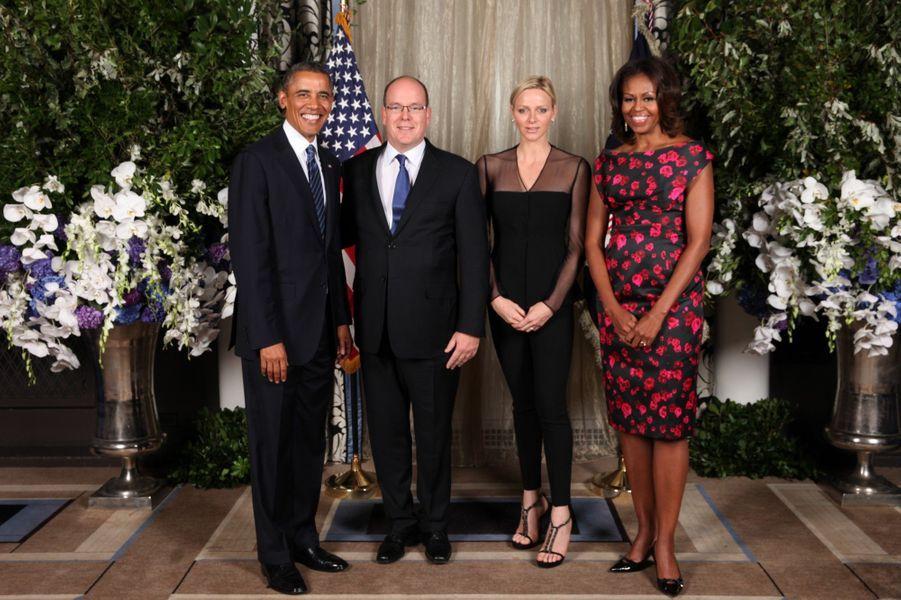 Le couple princier de Monaco lors de la réception organisée par le Président Barack Obama