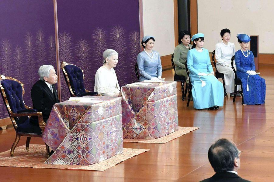 L'empereur du Japon Akihito, l'impératrice Michiko et les princesses Kiko et Mako à Tokyo, le 11 janvier 2017
