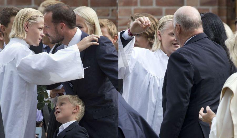 Avec le prince héritier Haakon et le roi Harald
